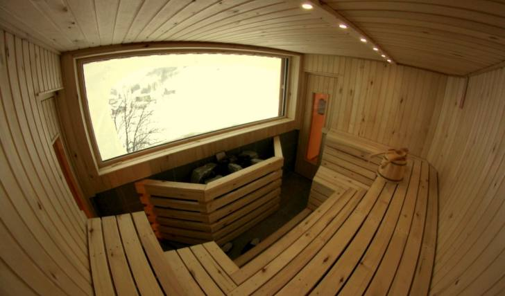 finnish sauna with mountain view. Black Bedroom Furniture Sets. Home Design Ideas