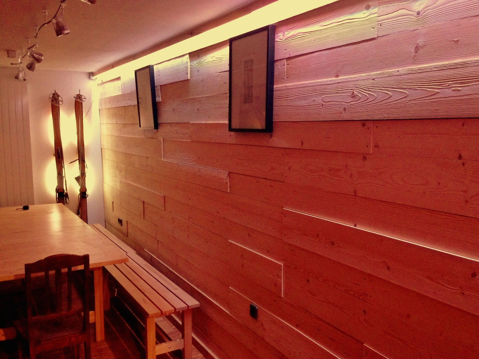 ecological accommodation in andermatt. wooden wall at a swiss hostel